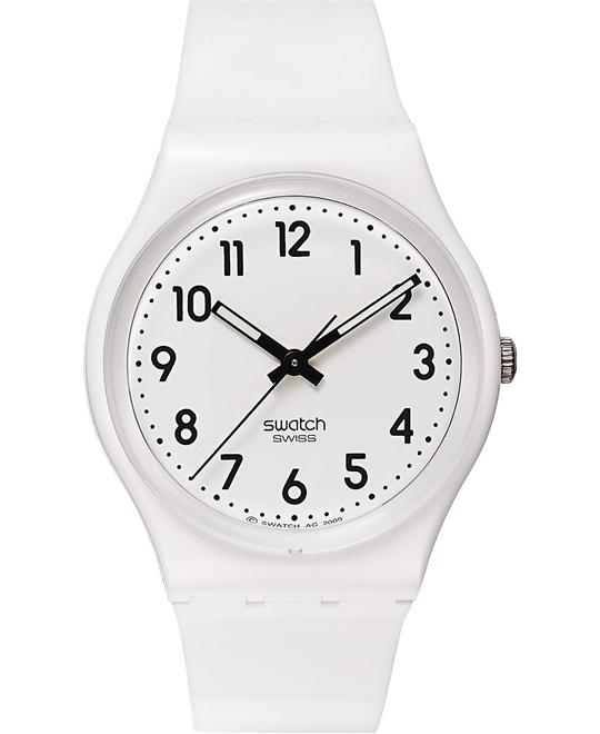 Swatch Unisex Swiss Just White Polyurethane Watch 34mm