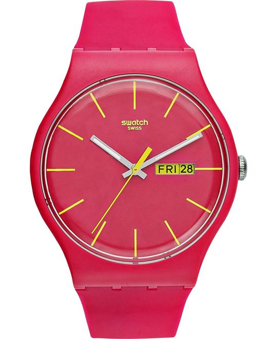 Swatch Watch, Unisex Swiss Rubine Rebel Pink Silicone, 41mm