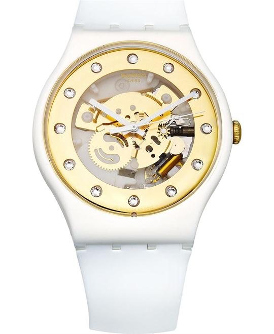 Swatch Watch, Unisex Swiss Sunray Glam White Silicone, 41mm