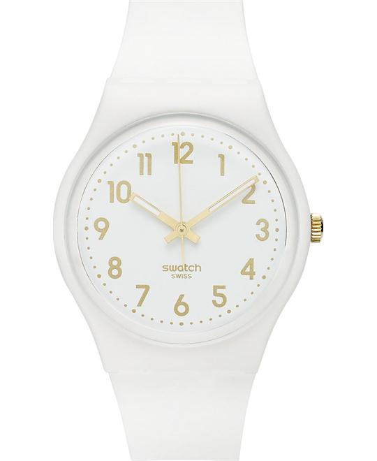 Swatch Unisex Swiss White Bishop Silicone Watch 41mm