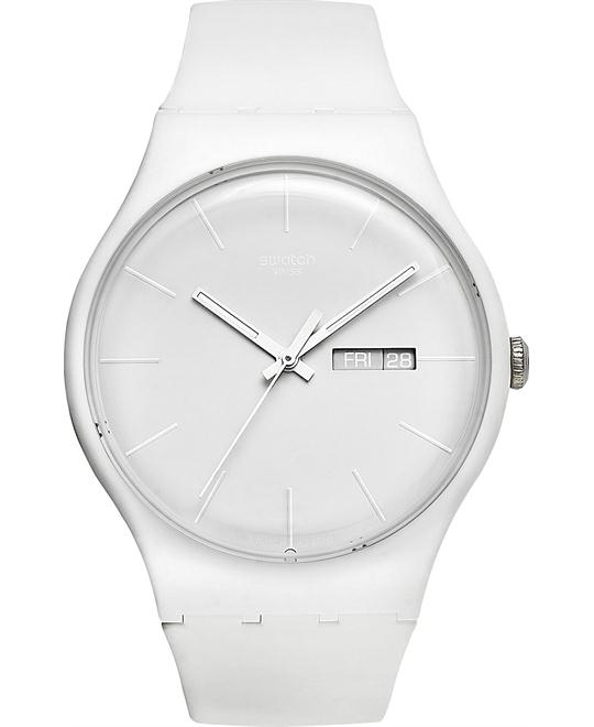 Swatch Watch, Unisex Swiss White Rebel Silicone, 41mm