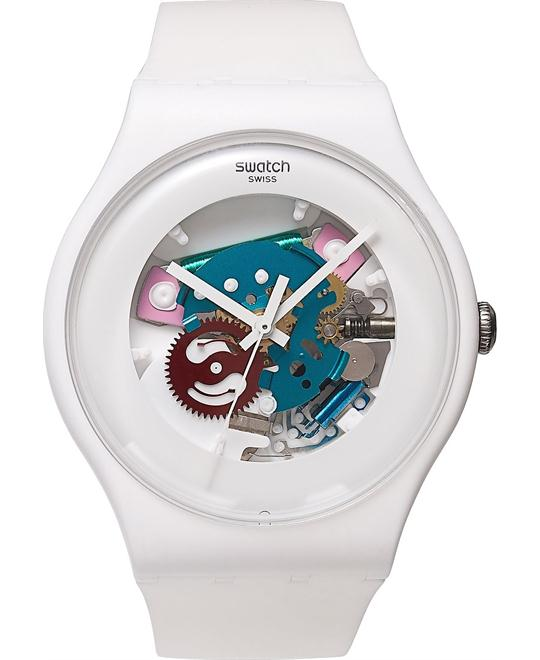 Swatch Watch Unisex Swiss White Silicone 41mm