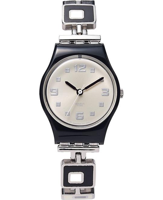 Swatch Watch, Women's Swiss Chessboard Black & White 25mm