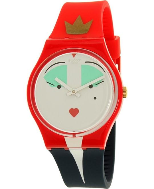 Swatch Women's Gent Red Silicone Swiss Quartz Fashion Watch 34mm