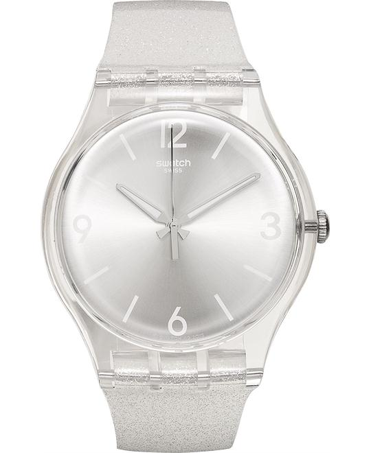 Swatch Women's Swiss White Silicone Watch 41mm
