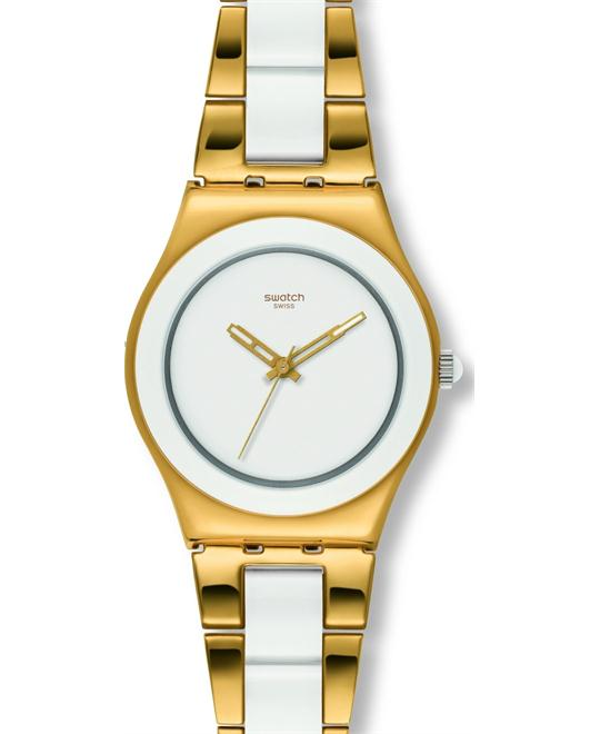 Swatch Yellow Pearl White Dial Gold-Tone Ladies Watch 32mm