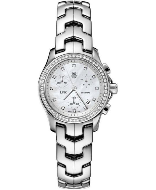 TAG Heuer CJF1314.BA0580 Link Diamond Chrono Watch 33mm