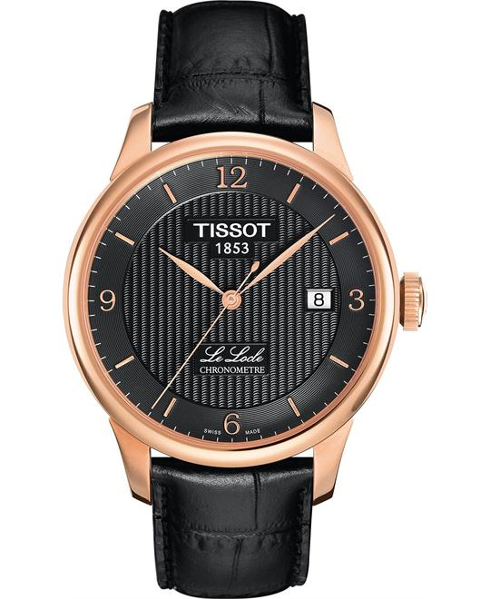Tissot Men's Swiss Automatic Black Leather 39mm