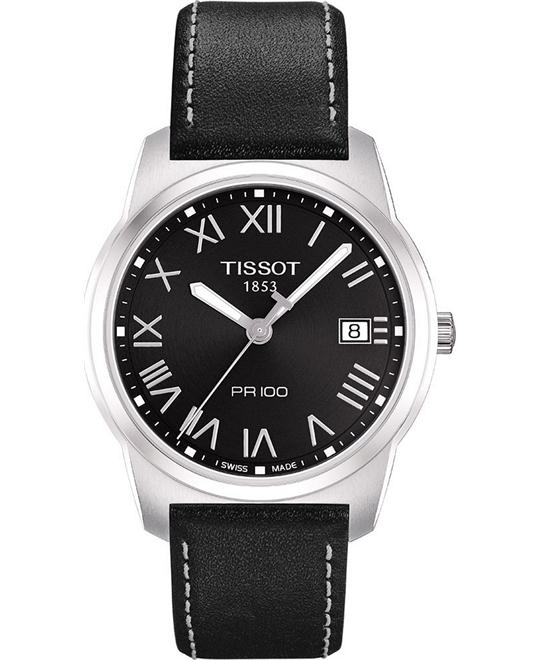 Tissot Men's Swiss Black Leather Watch 38mm