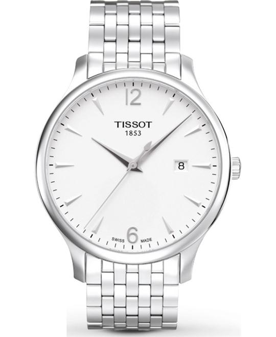 Tissot Men's Tradition Round Silver-Tone Bracelet Watch 42mm