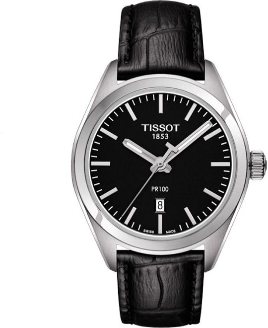 TISSOT PR100 Black Dial Black Leather Ladies Watch 33mm