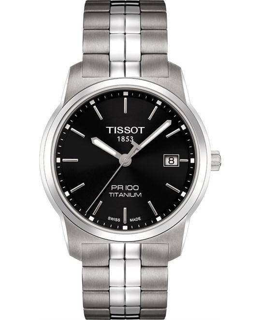 Tissot PR100 Black Dial Titanium Men's Watch 38mm
