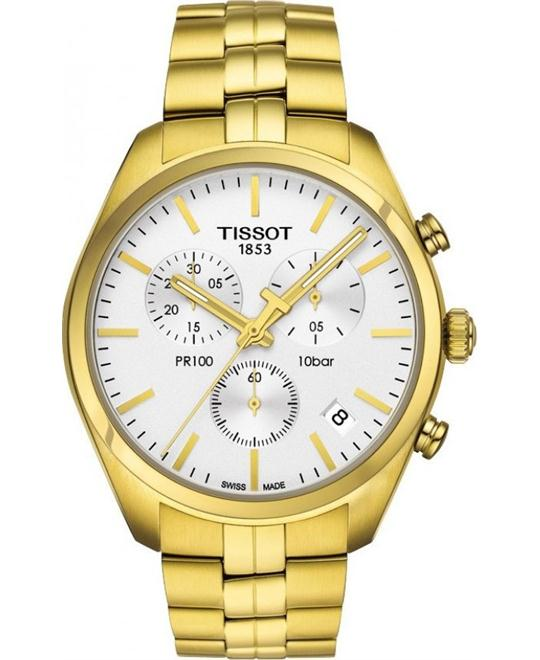 TISSOT PR100 Chronograh White Dial Gold PVD Men's Watch 41mm