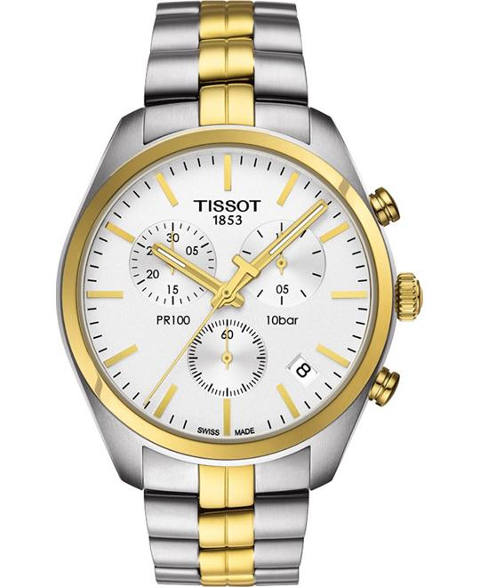 Tissot PR100 Chronograph White Dial Two-tone Watch 41mm