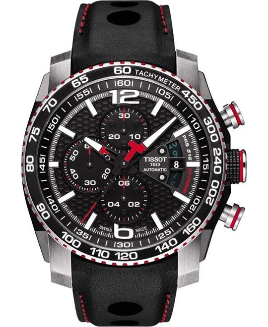TISSOT PRS 516 Extreme Chronograph Leather Strap Watch 44.4mm