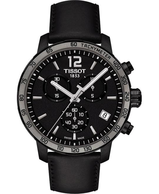 TISSOT Quickster Chronograph Black Dial Black  Watch 42mm