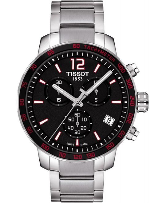 TISSOT Quickster Chronograph Black Dial Stainless Watch 42mm
