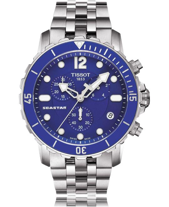 TISSOT Seastar Chronograph Blue Men's Watch 44mm