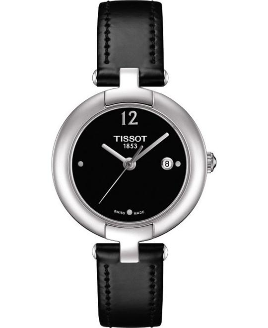 TISSOT Trend Pinky Black Dial Black Leather Ladies Watch 28mm