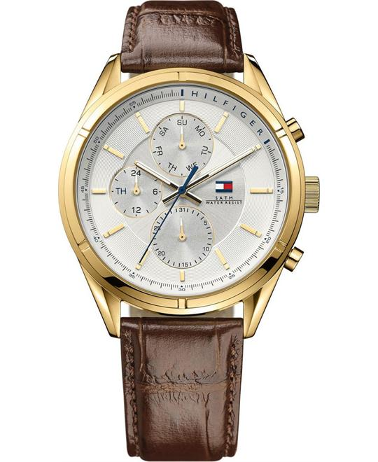 TOMMY HILFIGER Chale Silver Dial Brown Men's Watch 44mm