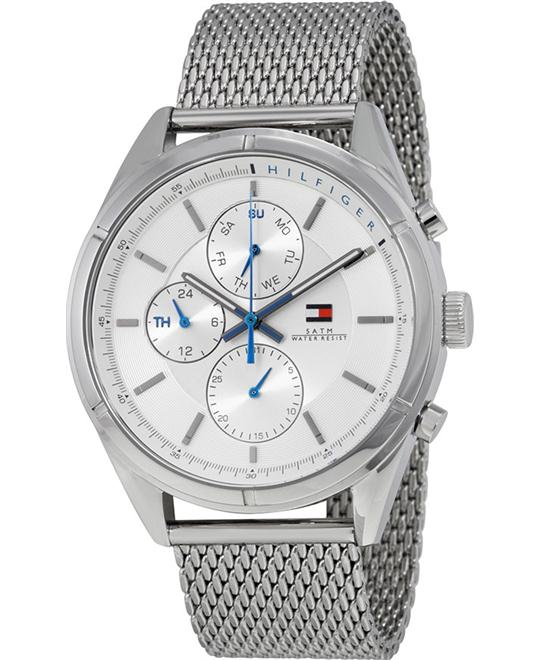 Tommy Hilfiger Men's  Lux Silver-Tone Watch 44mm