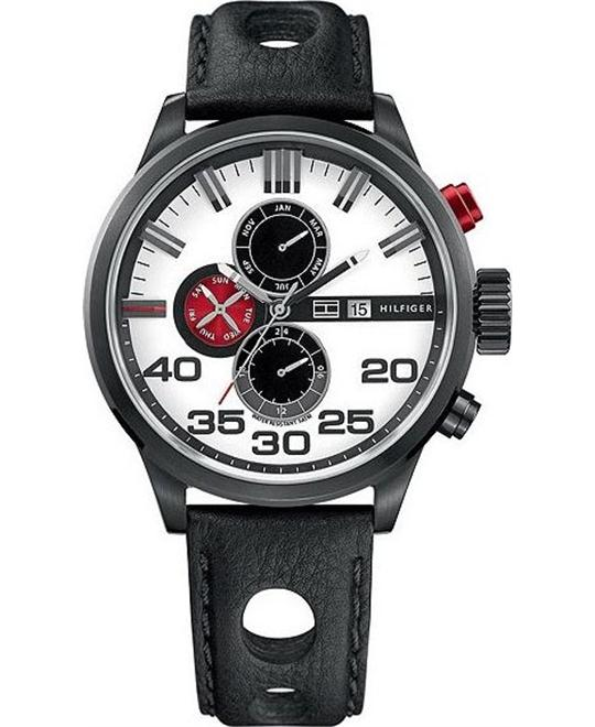 Tommy Hilfiger white dial black cut-out men watch 45mm