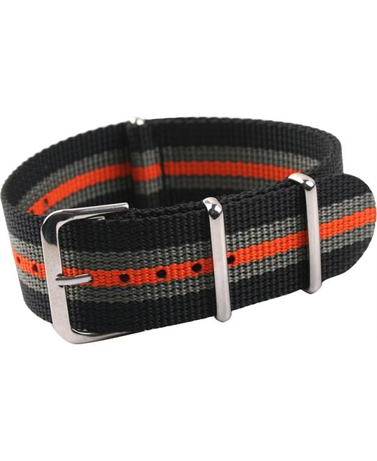 Uyoung 24mm Men's Orange Stripe Nylon Watch Band 24mm