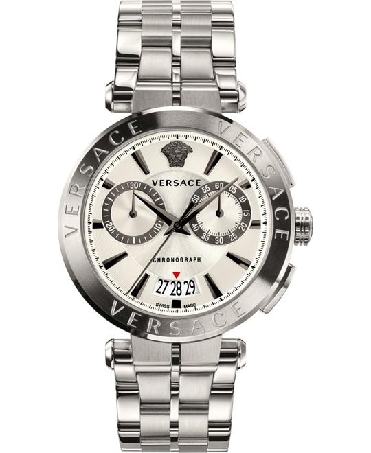 VERSACE AION SILVER CHRONO WATCH 45MM