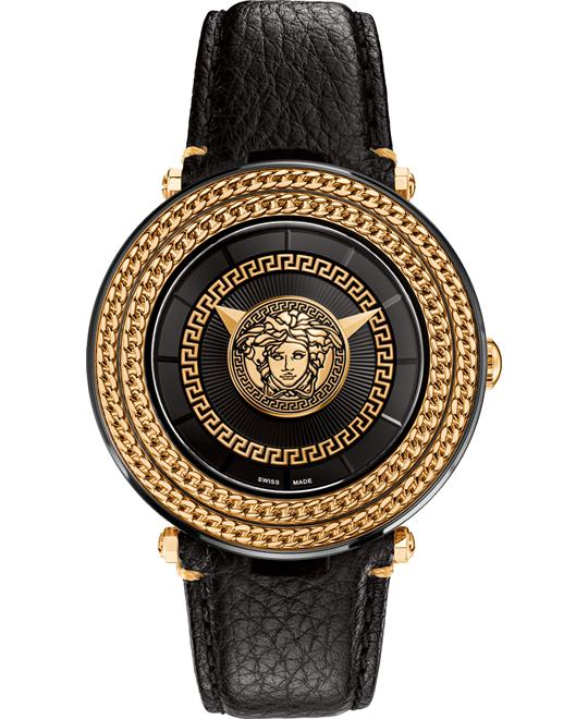 VERSACE BLACK V-METAL ICON WATCH 46MM