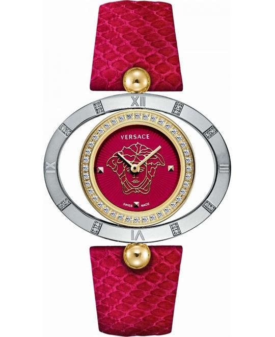 Versace Eon Ellipse Red Leather Watch 40mm