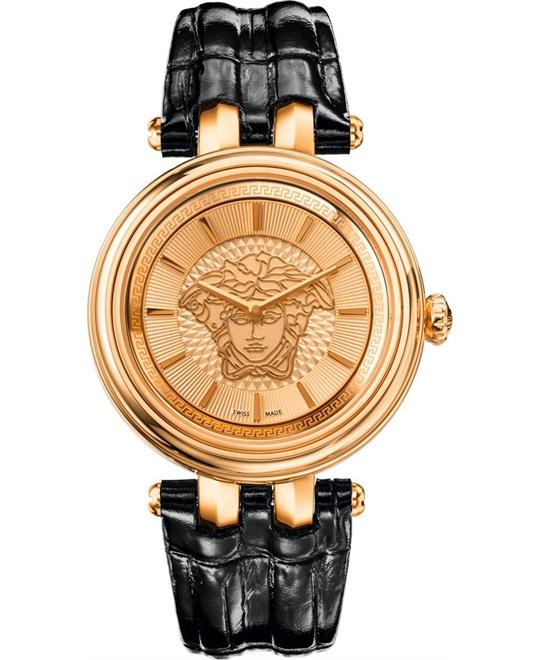 Versace KHAI Gold IP Black Leather Watch 38mm