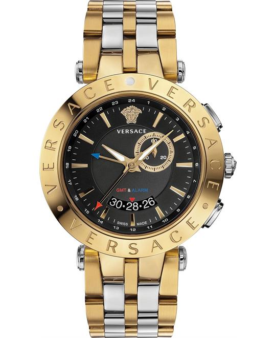 Versace V-Race GMT Alarm Men's Swiss Watch 46mm