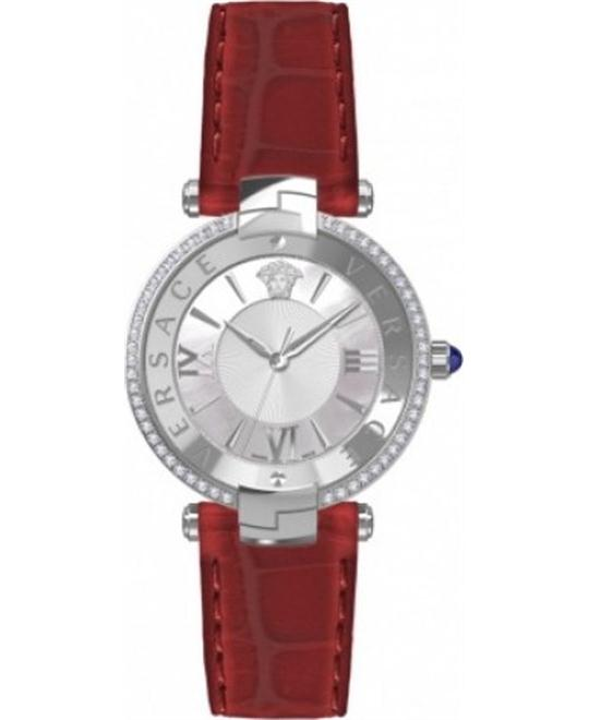 VERSACE Silver Dial Ladies Red Leather Watch 35mm