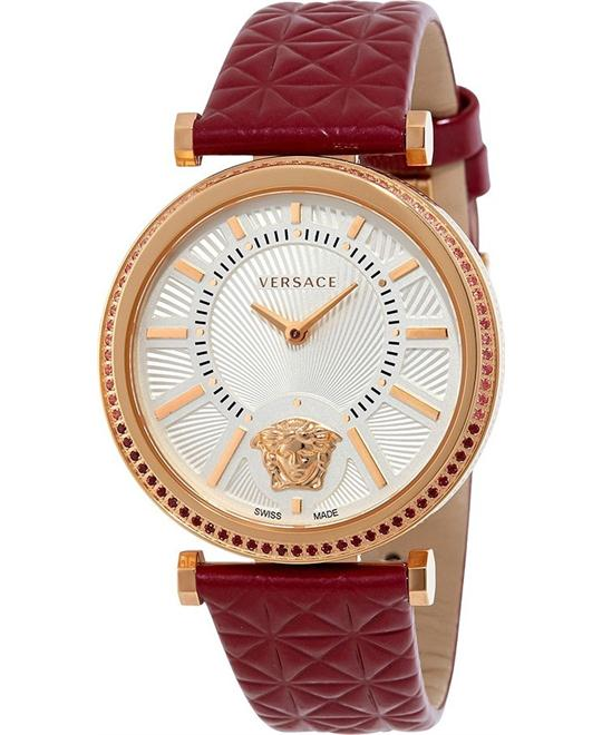 Versace V-Helix Burgundy Leather Ladies Watch 38mm