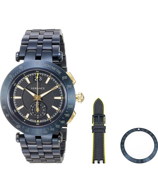 Versace V-Race Swiss Quartz Watch Set 42mm