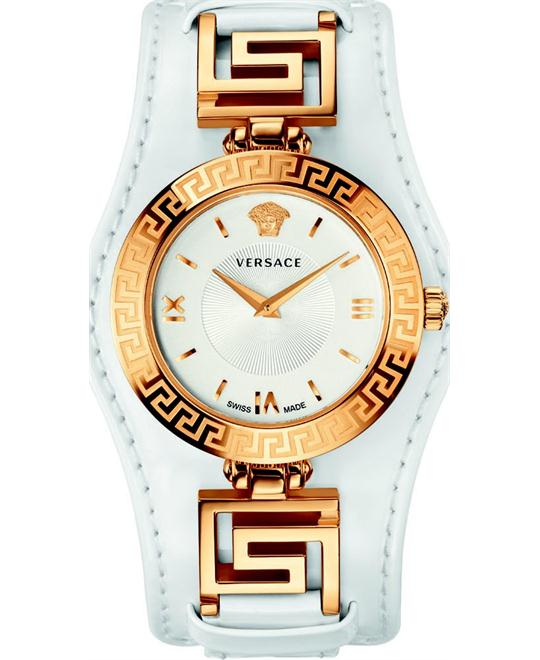 Versace V-SIGNATURE Gold IP Leather Watch 35mm