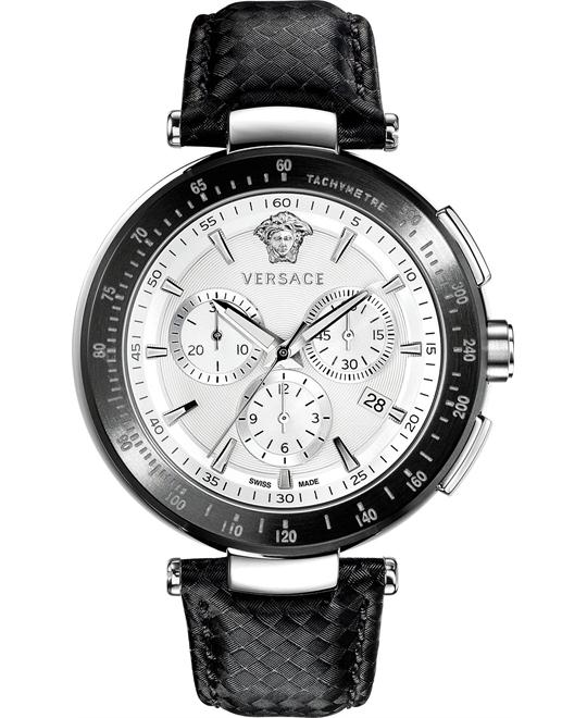 Versace Watch, Men's Swiss Leather Strap 44mm