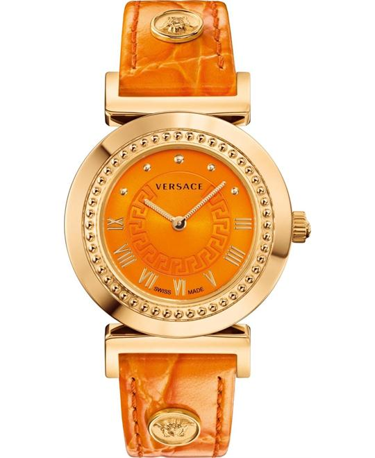 Versace VANITY Quartz Orange Watch 35mm