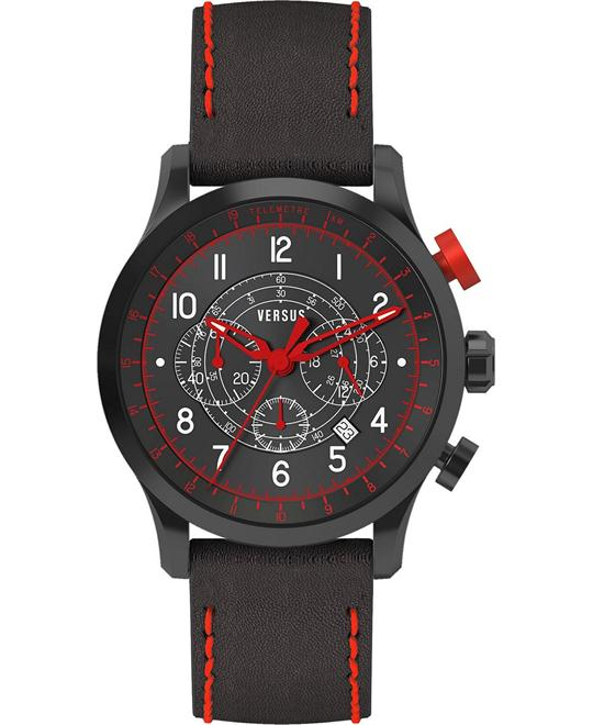 Versus by Versace Unisex Leather Strap 44mm