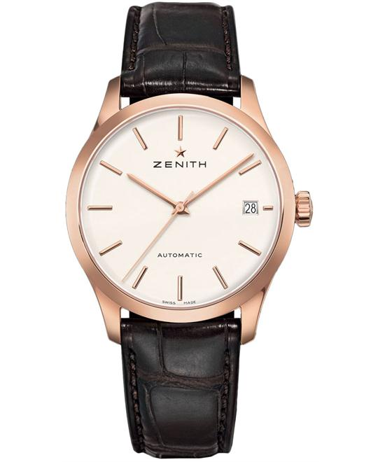 Zenith Mens 18kt Rose Gold Rubber Brown 38mm
