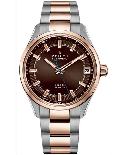 Zenith Mens 18kt Rose Gold-Steel & Rose Gold 40mm