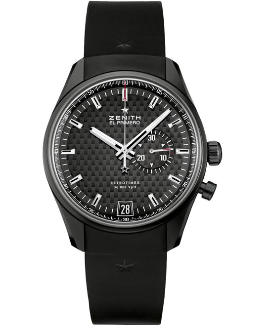 Zenith Mens Chronograph Rubber Black 42mm