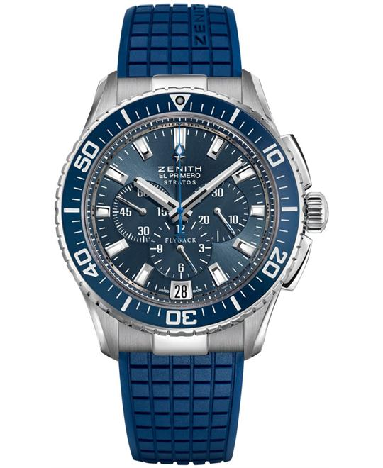 Zenith Mens Stainless Steel Rubber Blue 45.5mm