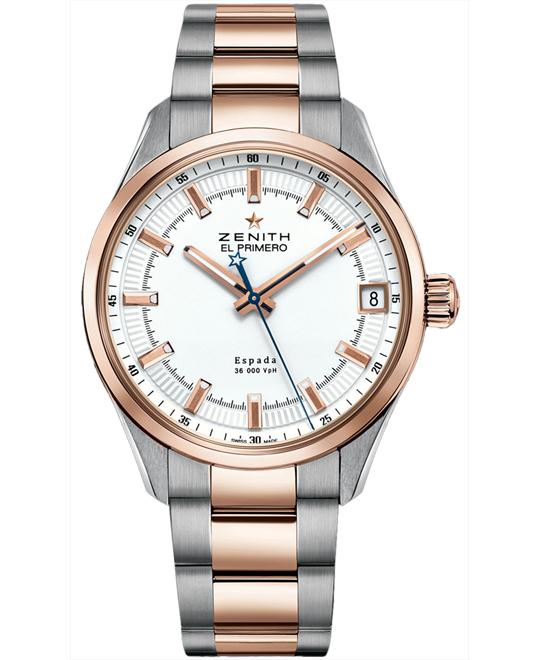 Zenith Mens Steel 18kt Rose Gold 40mm