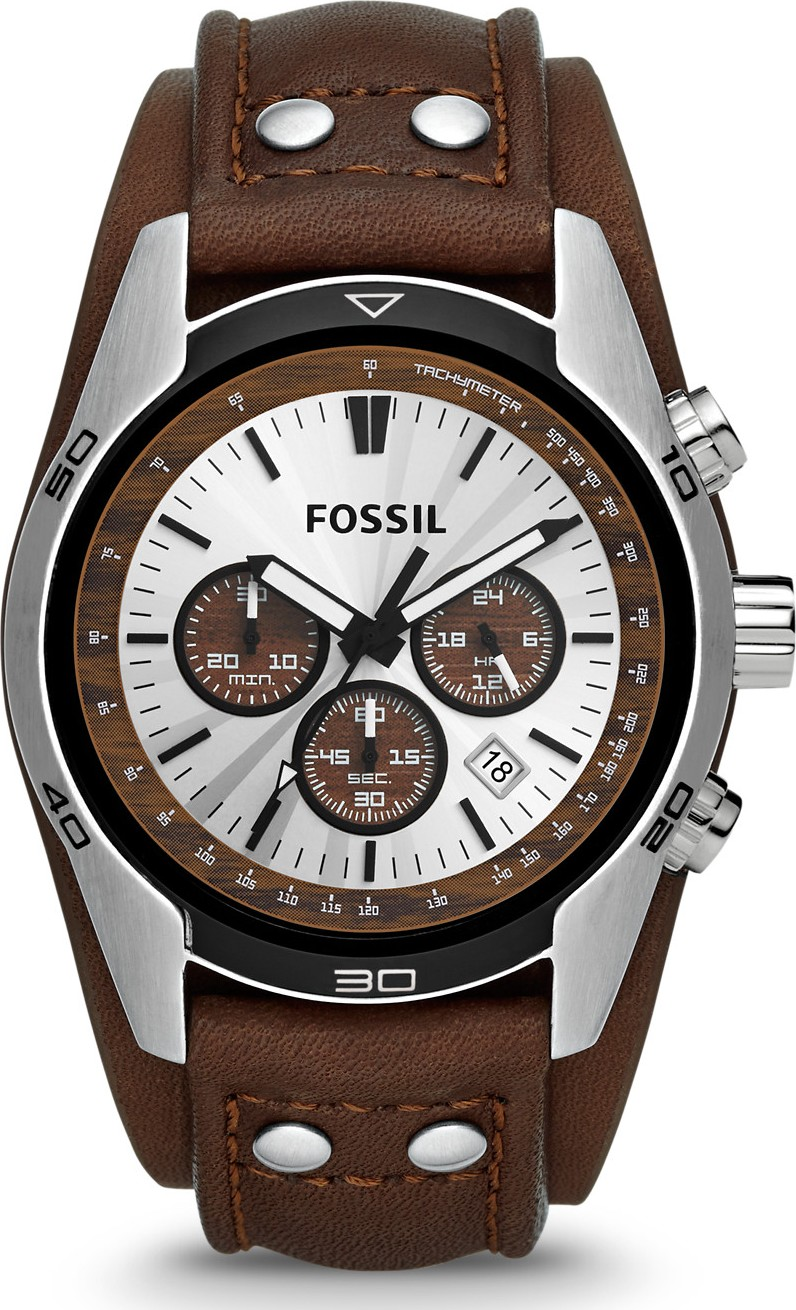 FOSSIL Coachman Chronograph Cuff Leather Men's Watch 45mm