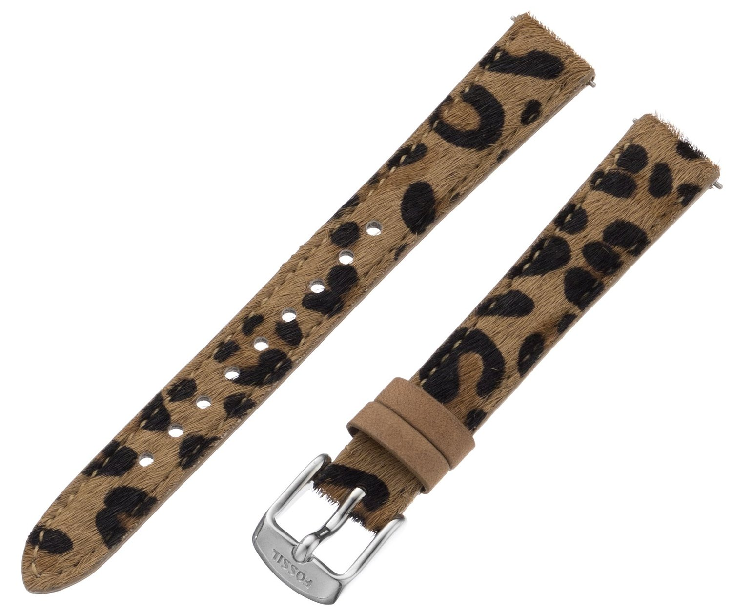 af1a3942e Fossil S141068 Women's Leather Watch Strap - Cheetah Print 14mm