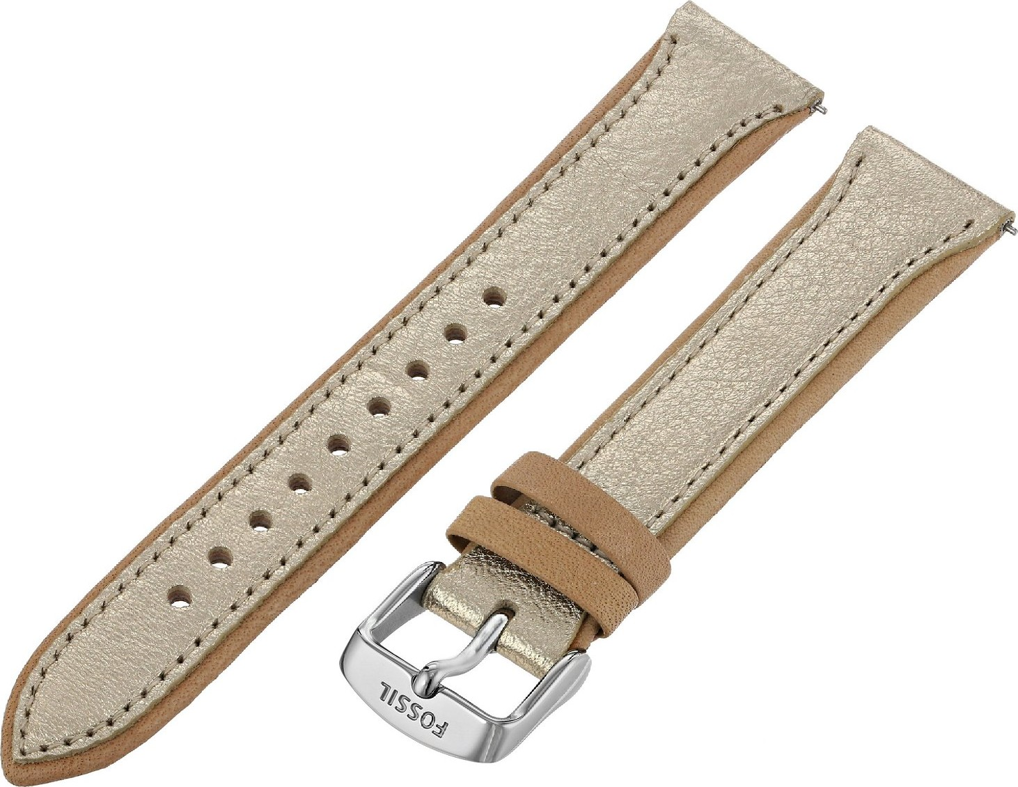 1b0e01c66 Fossil S181244 Women's Leather Watch Strap - Gold Metallic 18mm