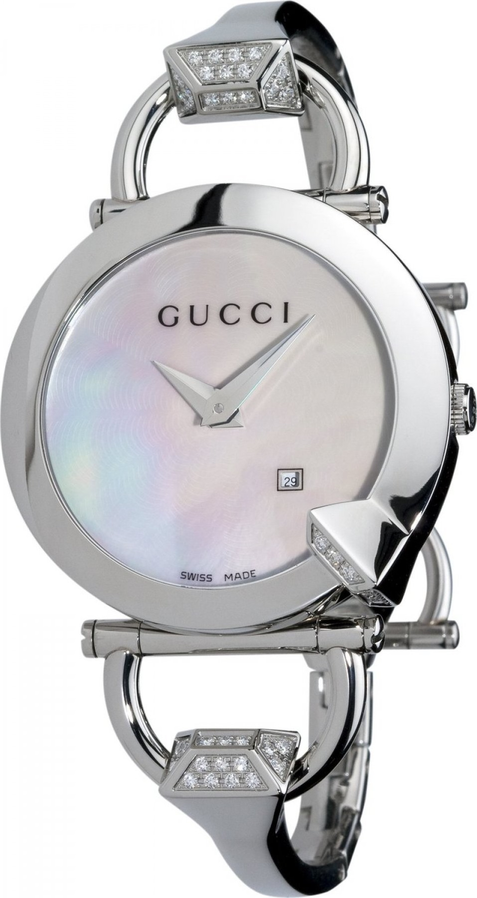 f3c3d2e2727 Gucci YA122506 122 Chiodo Women s Diamond Watch 35mm