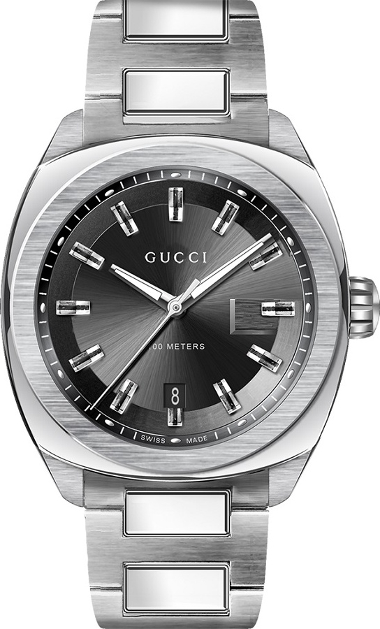 0995af1611b GUCCI YA142201 GG2570 Xl Black Sun Brushed Watch 44mm