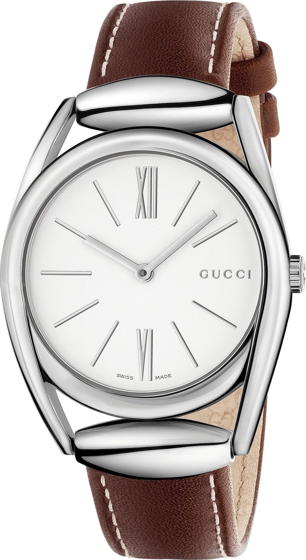 1b40448f8d03 Gucci YA140402 Horsebit Silver Leather Ladies Watch 34mm